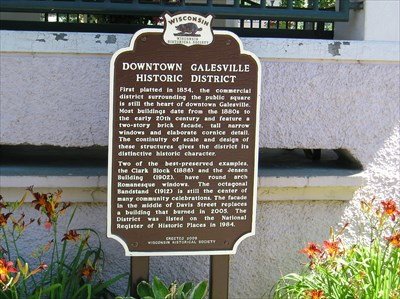 Downtown Galesville Historic District Marker.