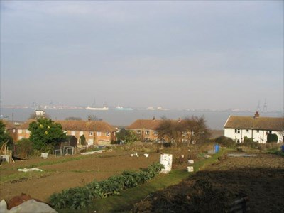 The entrance to Harwich harbour to the left...