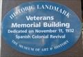 Image for Veterans Memorial Building blue plaque - Santa Cruz, CA