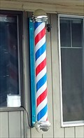 Image for The Whistle-Stop Barbershop HWY 58 Barber Pole - Oakridge, OR
