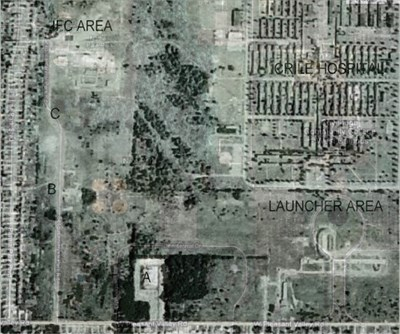 """My attempt to superimpose the 1959 aerial image from the Thielen site over a present day Google map. The IFC area in the northeast is Parma Heights Nathan Hale Park. Building """"A"""" still exists as a maintenance building for the Parma Parks Department. The launcher area is now a circle drive around a pond on the south face of the Cuyahoga Community College. The College itself fills the footprint left by the old Crile Hospital; the roadways that formed a perimeter around the hospital now encircle the College."""