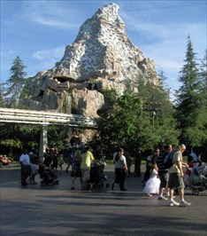 Looking southeast at the Matterhorn attraction.