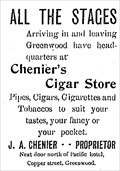 Image for Chenier's Cigar Store - Greenwood, BC - 1903