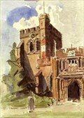 """Image for """"South Porch & Tower, Hitchin Church"""" by Alice Mary Lucas – St Mary's Church, Hitchin, Herts, UK"""