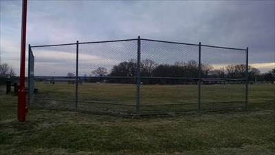 Ball Field #3 at Pea Ridge City Park, by MountainWoods.  From the backstop looking down the left foul line.
