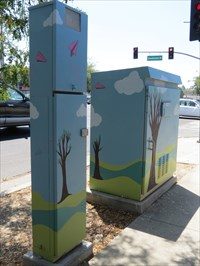 Sidewalk View of the Pair, Featuring Tall Box, San Jose, CA