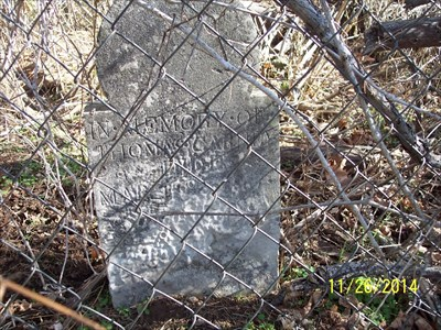 Abandoned First Carney Cemetery, by MountainWoods. This is the headstone for Thomas Carney, who was one year younger than his wife, and who died three years later than her in 1867.