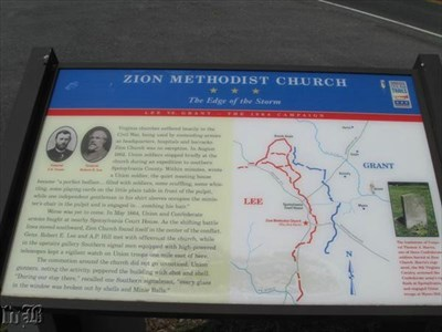 The Edge of the Storm -- the Civil War Discovery Trail marker at Zion Methodist Church