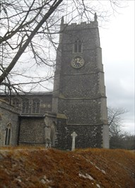 ...clock face on the north face of the church tower.
