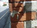 Image for Cut bench mark on brick gate post in Sidmouth Road, Colyton, Devon.