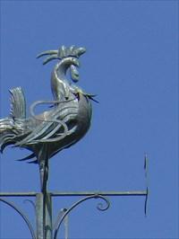 Le Coq est fait de métal en feuilles travaillés.  Rooster is made of metal sheets worked.