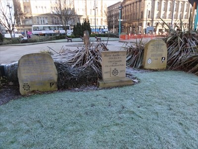These are at the front of the memorial garden next to Norfolk Gardens. The city hall is to the left.