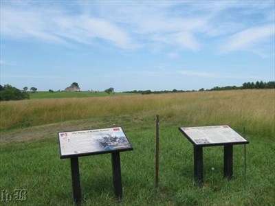 Two CWPT markers overlook Fleetwood Hill, site of J.E.B. Stuart`s HQ and a strategic high point both the Blue and Gray fought to control.