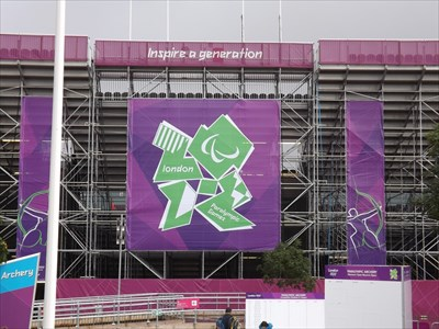 The range set-up for the Paralympic archery.
