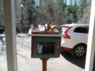 Front view: Tiny Library - near the general merchandise store