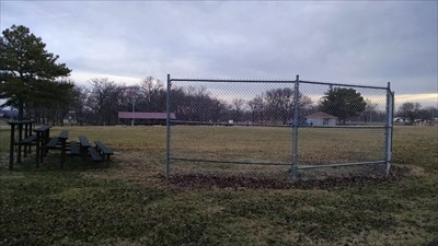 Ball Field #2 at Pea Ridge City Park, by MountainWoods.  Looking along the left foul line from the backstop.