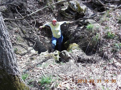 For reference, my wife is standing down on one of the protruding rocks in the sinkhole.  MountainWoods