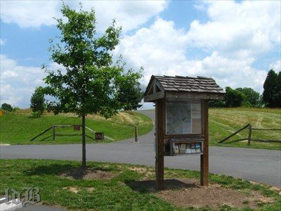A visitor kiosk in the parking lot for the Bristoe Station Park offers pamphlets, trail guides, maps and other assorted info.