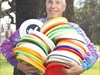 My Fastback collection of Wham-O Frisbees, photo taken at Santa Rosa Junior College