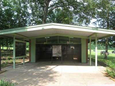 The exhibit shelter with plenty of information at the Wilderness Battlefield.