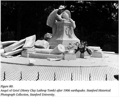 Henry Lathrop's statue and canopy grave damaged after the San Francisco earthquake of 1906