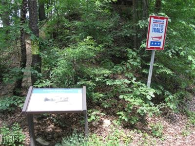 An informational display and Civil War Trails sign identify this as a Civil War Discovery site.