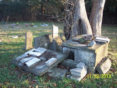Potter Cemetery, by MountainWoods.  Perhaps a tomb?  But also a bunch of broken grave markers.