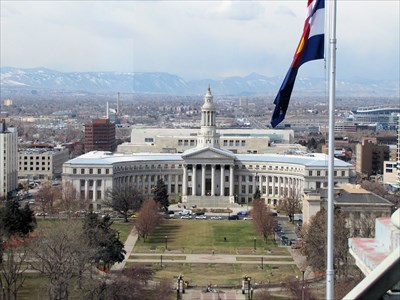 This view is from the dome of Colorado's State Capitol looking west.