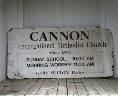 This sign has now been moved inside the church.
