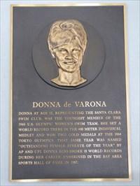 Donna de Varona plaque, International Swim Center HOF, Santa Clara, California