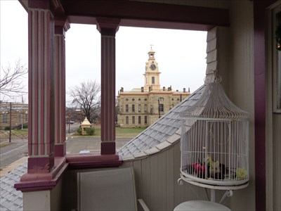 Your view of the Red River Courthouse from the balcony of the Juliet, upstairs.