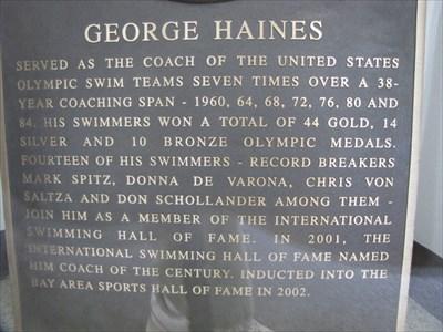 Geo Haines Text from plaque, International Swim Center HOF, Santa Clara, California