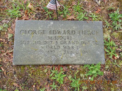 This grave marker for George Edward Pierce (1887-1958) is the only marker that I saw flush with the ground, rather than standing up.  This soldier died the year after I (MountainWoods) was born.