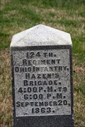 Image for 124th Ohio Volunteer Infantry Regiment Marker- Chickamauga National Battlefield