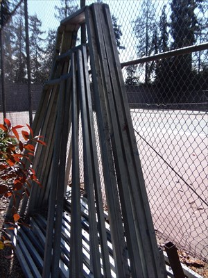 I have no idea what these are but there was a big pile of them propped against the side of the tennis courts.  Made for interesting photography, at least.