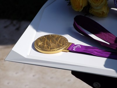 As close as the public is allowed to get to the medals!