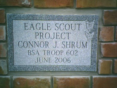 Connor laid the base of the memorial with assistance of community members and fellow scout troop leaders, among others