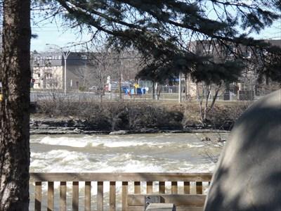 Vue de la rivière agité et une partie de la tête de l'Oiseau.  View of the river agitated and part of the head of the bird.