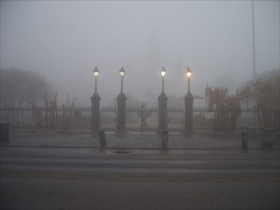 An example of how thick the fog can be in New Orleans some mornings.  The Andrew Jackson statue is completely hidden by the fog.
