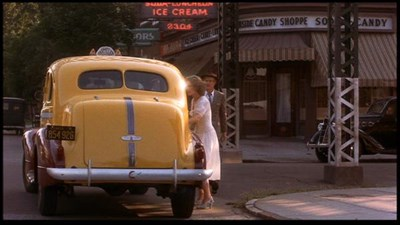 Glenn Close can be seen getting into the cab outside Parkside Candy.