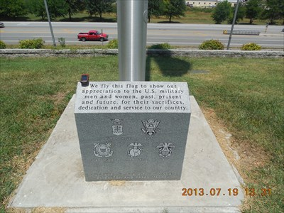My GPSr precariously balanced on the memorial at the base of the flag pole, by MountainWoods