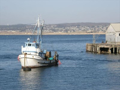 The end of Monterey  Commercial Wharf is visible on the right.
