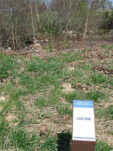 The self-guided trail continues across Mott`s Run where the Union troops retreated, today known as Lick Run.