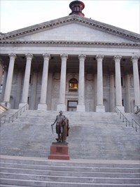 Shot from the front of the State House.
