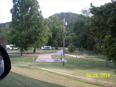 Campground 2 at RRSP, by MountainWoods.  This photo was taken from Missouri Secondary State Route F, which runs through the park, and looking down into Campground 2.  (Hmmm.  DOWN.)  Roaring River is in the background below the hill.