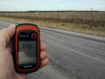 Highest Point in Lawrence County, by MountainWoods.  We are looking northeast along Lawrence County Rd 1200, which continues north from Barry County Farm Road 2015.