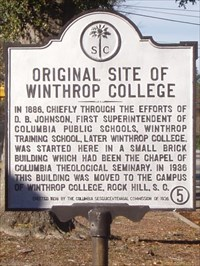 In 1886, chiefly through the efforts of D.B. Johnson, first Superintendent of Columbia Public Schools, Winthrop Training School, later Winthrop College, was started here in a small brick building which had been the chapel of Columbia Theological Seminary.  In 1986 this building was moved to the campus of Winthrop College, Rock Hill, S.C.