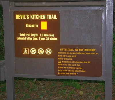 Be sure to enlarge this photo because the sign posted on the lower right is side-splittingly hilarious, especially the line about the surfaces you will encounter. What would people expect when they see the trailhead?