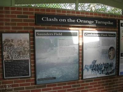 The armies met at Orange Turnpike (modern Rt. 20) which ran through Saunders Field.