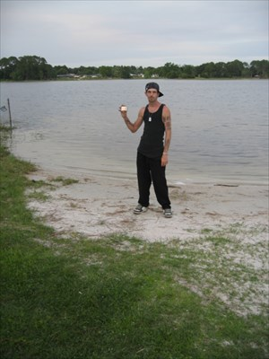 me at the boat ramp with g.p.s.